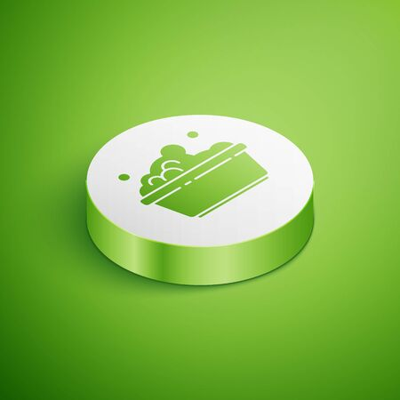 Isometric Plastic basin with soap suds icon isolated on green background. Bowl with water. Washing clothes, cleaning equipment. White circle button. Vector Illustration. Stock Illustratie