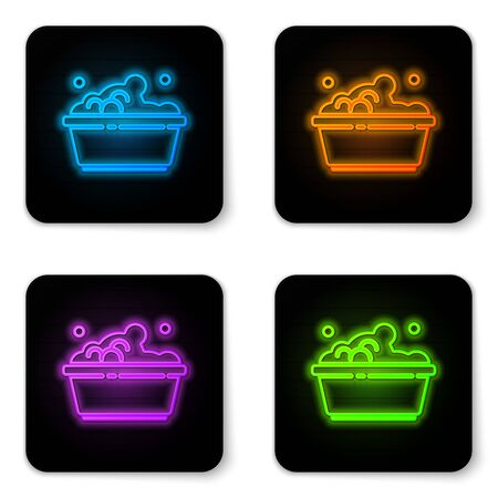 Glowing neon Plastic basin with soap suds icon isolated on white background. Bowl with water. Washing clothes, cleaning equipment. Black square button. Vector Illustration.