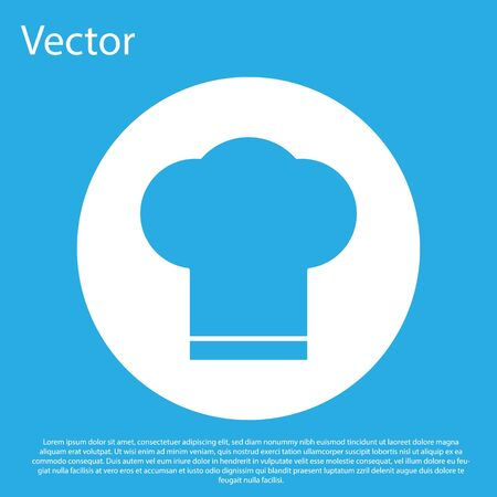 Blue Chef hat icon isolated on blue background. Cooking symbol. Cooks hat. White circle button. Vector Illustration. Vettoriali
