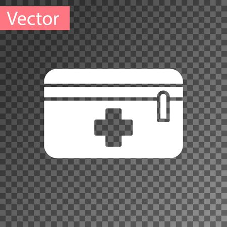 White First aid kit icon isolated on transparent background. Medical box with cross. Medical equipment for emergency. Healthcare concept. Vector Illustration.