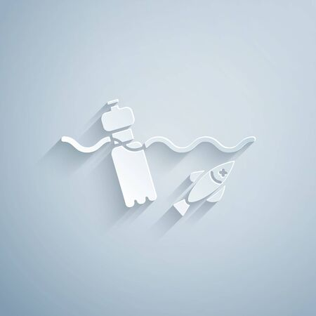 Paper cut The problem of pollution of the ocean icon isolated on grey background. The garbage, plastic, bags on the sea. Paper art style. Vector Illustration.