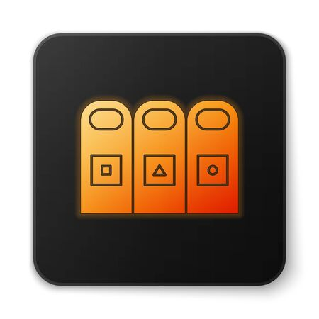 Orange glowing neon Trash in garbage cans with sorted garbage icon isolated on white background. Recycle basket icon. Black square button. Vector Illustration. Фото со стока - 150458228