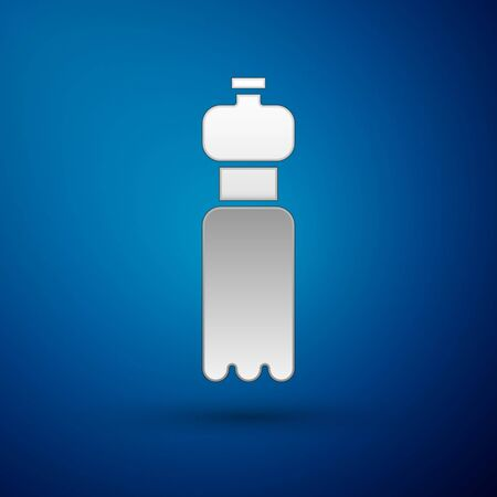 Silver Bottle of water icon isolated on blue background. Soda aqua drink sign. Vector Illustration.