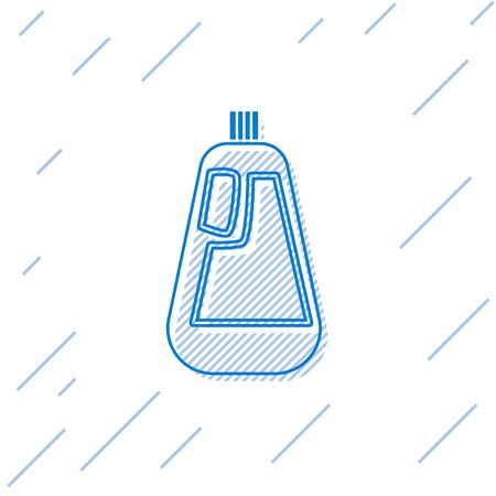 Blue line Plastic bottle for liquid laundry detergent, bleach, dishwashing liquid icon isolated on white background. Vector Illustration.