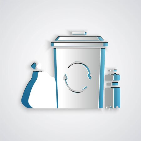 Paper cut Recycle bin with recycle symbol icon isolated on grey background. Trash can icon. Garbage bin sign. Recycle basket. Paper art style. Vector Illustration.