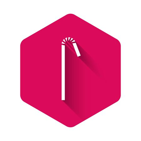 White Drinking plastic straw icon isolated with long shadow. Pink hexagon button. Vector Illustration.