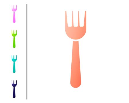 Coral Disposable plastic fork icon isolated on white background. Set color icons. Vector Illustration.