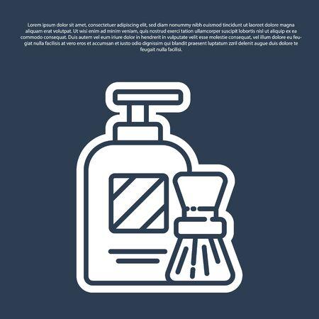 Blue line Shaving gel foam and brush icon isolated on blue background. Shaving cream. Vector Illustration.