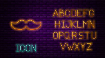 Glowing neon line Mustache icon isolated on brick wall background. Barbershop symbol. Facial hair style. Neon light alphabet. Vector Illustration.