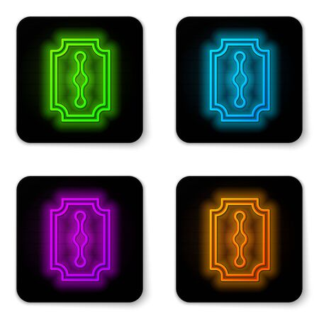 Glowing neon line Blade razor icon isolated on white background. Black square button. Vector Illustration.