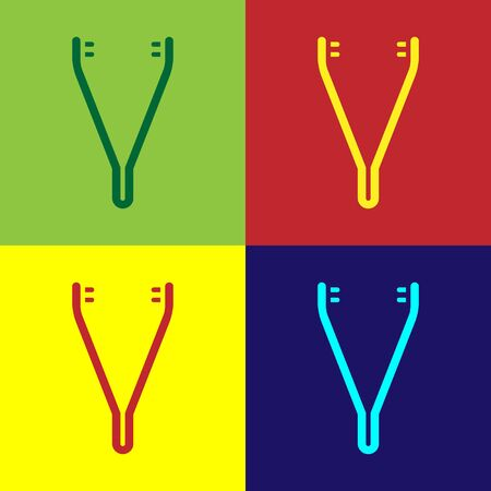 Pop art Medical tweezers icon isolated on color background. Medicine and health. Anatomical tweezers. Vector Illustration.