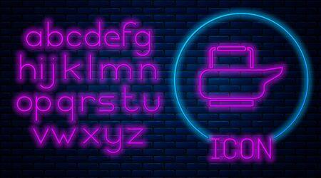 Glowing neon Bedpan icon isolated on brick wall background. Toilet for bedridden patients. Neon light alphabet. Vector Illustration. Ilustracja