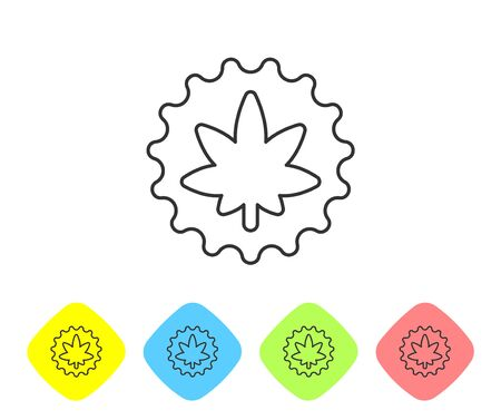 Grey line Medical marijuana or cannabis leaf icon isolated on white background. Hemp symbol. Set icons in color rhombus buttons. Vector Illustration.