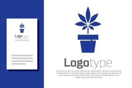 Blue Medical marijuana or cannabis plant in pot icon isolated on white background. Marijuana growing concept. Hemp potted plant. Logo design template element. Vector Illustration.