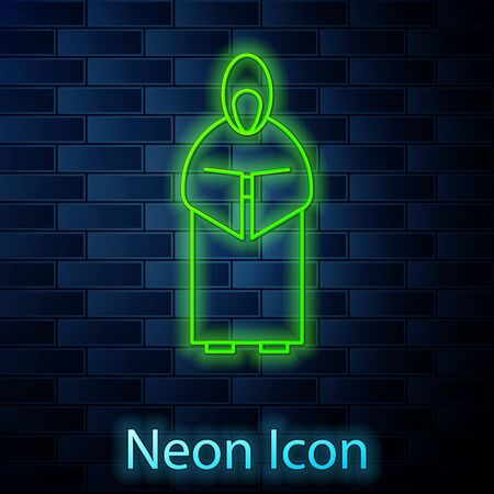 Glowing neon line Monk icon isolated on brick wall background. Vector Illustration.