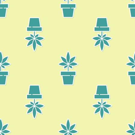 Green Medical marijuana or cannabis plant in pot icon isolated seamless pattern on yellow background. Marijuana growing concept. Hemp potted plant. Vector Illustration. Çizim