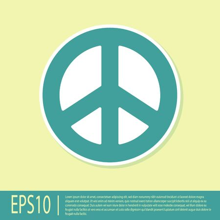 Green Peace icon isolated on yellow background. Hippie symbol of peace. Vector Illustration.