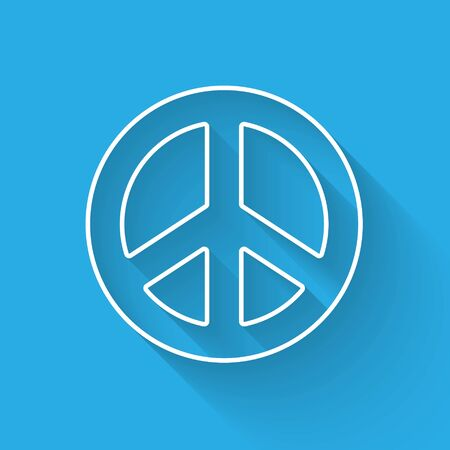 White line Peace icon isolated with long shadow. Hippie symbol of peace. Vector Illustration.