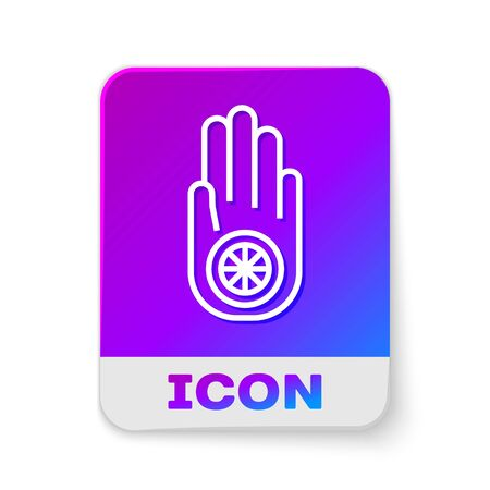 White line Symbol of Jainism or Jain Dharma icon isolated on white background. Religious sign. Symbol of Ahimsa. Rectangle color button. Vector Illustration.
