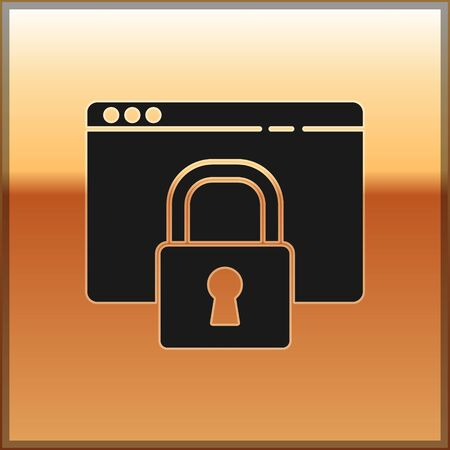 Black Secure your site with HTTPS, SSL icon isolated on gold background. Internet communication protocol. Vector Illustration.