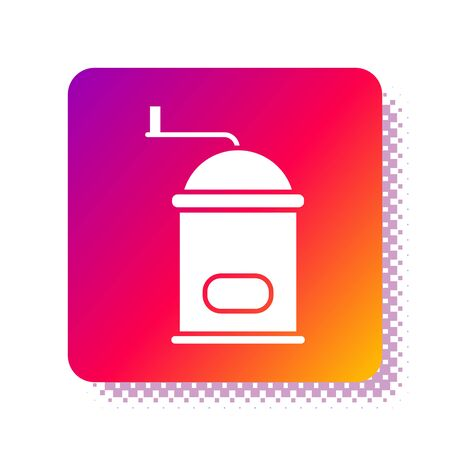 White Manual coffee grinder icon isolated on white background. Square color button. Vector Illustration.