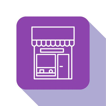 White line Shopping building or market store icon isolated on white background. Shop construction. Purple square button. Vector Illustration.