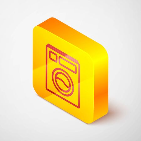 Isometric line Washer icon isolated on grey background. Washing machine icon. Clothes washer - laundry machine. Home appliance symbol. Yellow square button. Vector Illustration.