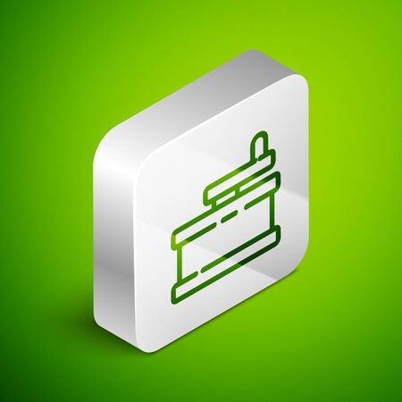 Isometric line Manual grinder icon isolated on green background. Silver square button. Vector Illustration. Illusztráció