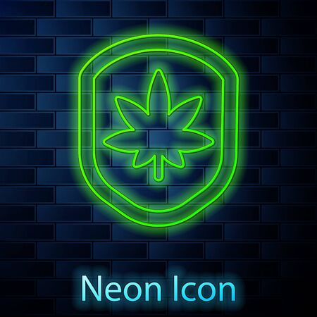 Glowing neon line Shield and marijuana or cannabis leaf icon isolated on brick wall background. Marijuana legalization. Hemp symbol. Vector Illustration.
