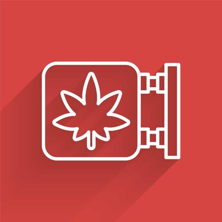 White line Marijuana and cannabis store icon isolated with long shadow. Equipment and accessories for smoking, storing medical cannabis. Vector Illustration.