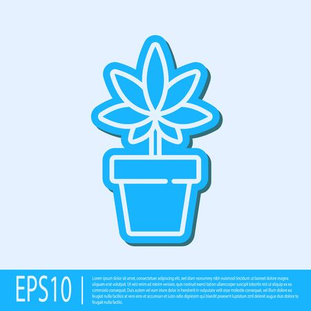 Blue line Medical marijuana or cannabis plant in pot icon isolated on grey background. Marijuana growing concept. Hemp potted plant. Vector Illustration.