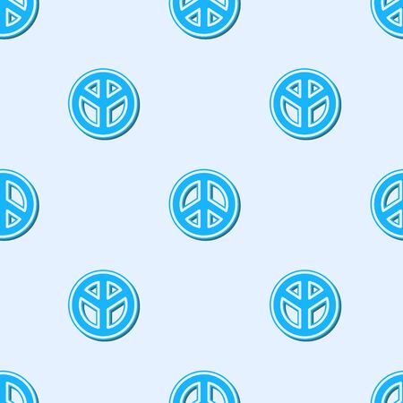 Blue line Peace icon isolated seamless pattern on grey background. Hippie symbol of peace. Vector Illustration.  イラスト・ベクター素材