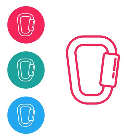 Red line Carabiner icon isolated on white background. Extreme sport. Sport equipment. Set icons in circle buttons. Vector Illustration.