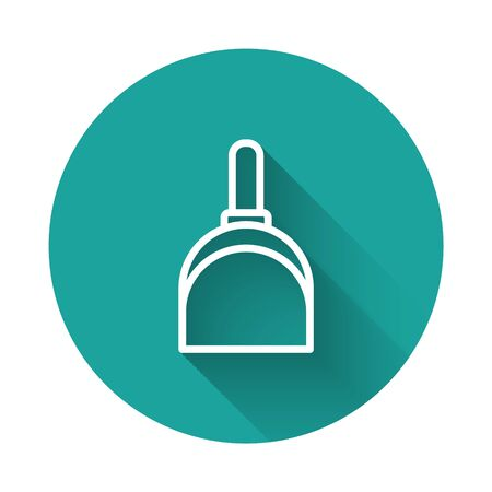 White line Dustpan icon isolated with long shadow. Cleaning scoop services. Green circle button. Vector Illustration.