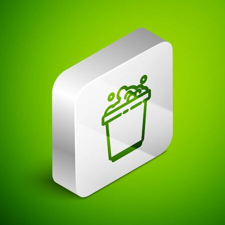 Isometric line Bucket with soap suds icon isolated on green background. Bowl with water. Washing clothes, cleaning equipment. Silver square button. Vector Illustration. Stock Illustratie