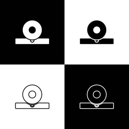 Set Otolaryngological head reflector icon isolated on black and white background. Equipment for inspection the patient's ear, throat and nose. Vector Illustration.
