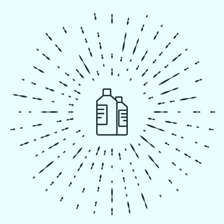 Black line Plastic bottles for laundry detergent, bleach, dishwashing liquid or another cleaning agent icon isolated on grey background. Abstract circle random dots. Vector Illustration. Stock Illustratie