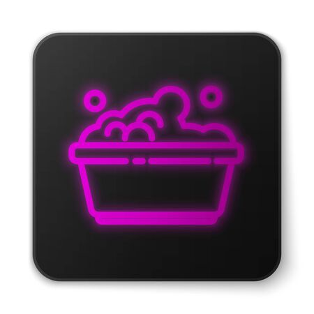 Glowing neon line Plastic basin with soap suds icon isolated on white background. Bowl with water. Washing clothes, cleaning equipment. Black square button. Vector Illustration. Stock Illustratie