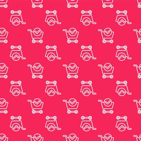 White line Shopping cart with check mark icon isolated seamless pattern on red background. Supermarket basket with approved, confirm, tick, completed. Vector Illustration. Çizim