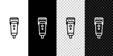 Set line Electrical hair clipper or shaver icon isolated on black and white background. Barbershop symbol. Vector Illustration. 写真素材 - 150464828