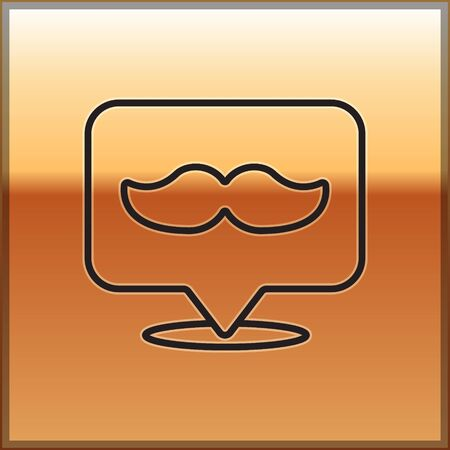 Black line Barbershop icon isolated on gold background. Hairdresser logo or signboard. Vector Illustration.