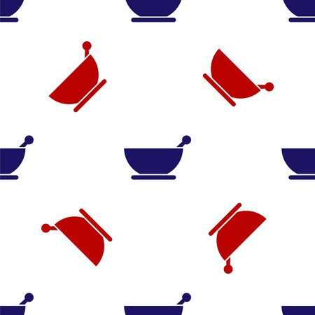 Blue and red Mortar and pestle icon isolated seamless pattern on white background. Vector Illustration. Çizim
