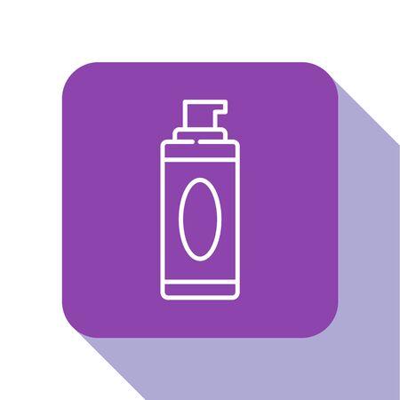 White line Shaving gel foam icon isolated on white background. Shaving cream. Purple square button. Vector Illustration. 写真素材 - 150464891