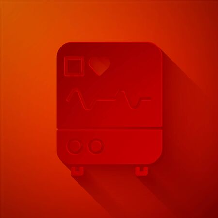 Paper cut Computer monitor with cardiogram icon isolated on red background. Monitoring icon. ECG monitor with heart beat hand drawn. Paper art style. Vector Illustration.