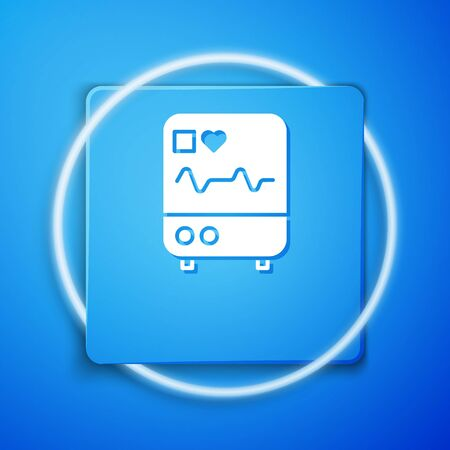 White Computer monitor with cardiogram icon isolated on blue background. Monitoring icon. ECG monitor with heart beat hand drawn. Blue square button. Vector Illustration.