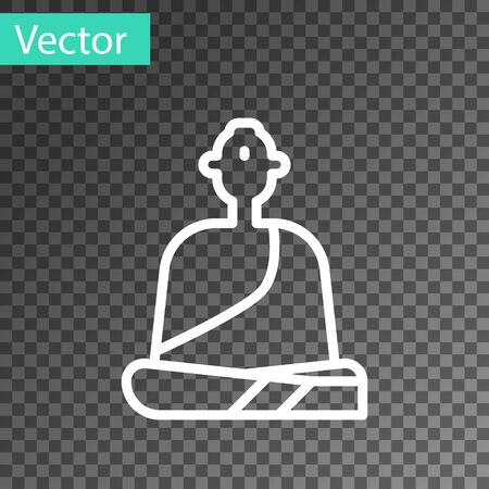 White line Buddhist monk in robes sitting in meditation icon isolated on transparent background. Vector Illustration.