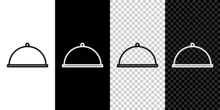 Set line Covered with a tray of food icon isolated on black and white background. Tray and lid. Restaurant cloche with lid. Kitchenware symbol. Vector Illustration.