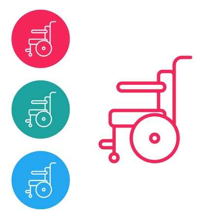 Red line Wheelchair for disabled person icon isolated on white background. Set icons in circle buttons. Vector Illustration.
