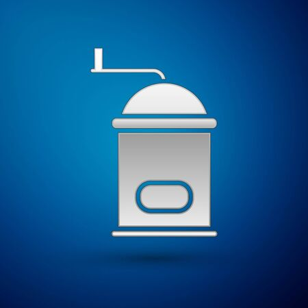 Silver Manual coffee grinder icon isolated on blue background. Vector Illustration.