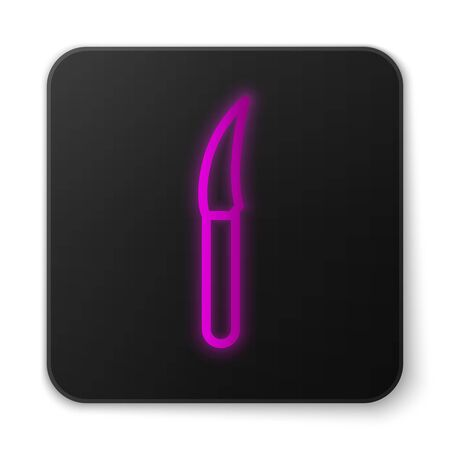 Glowing neon line Knife icon isolated on white background. Cutlery symbol. Black square button. Vector Illustration. Фото со стока - 150465473